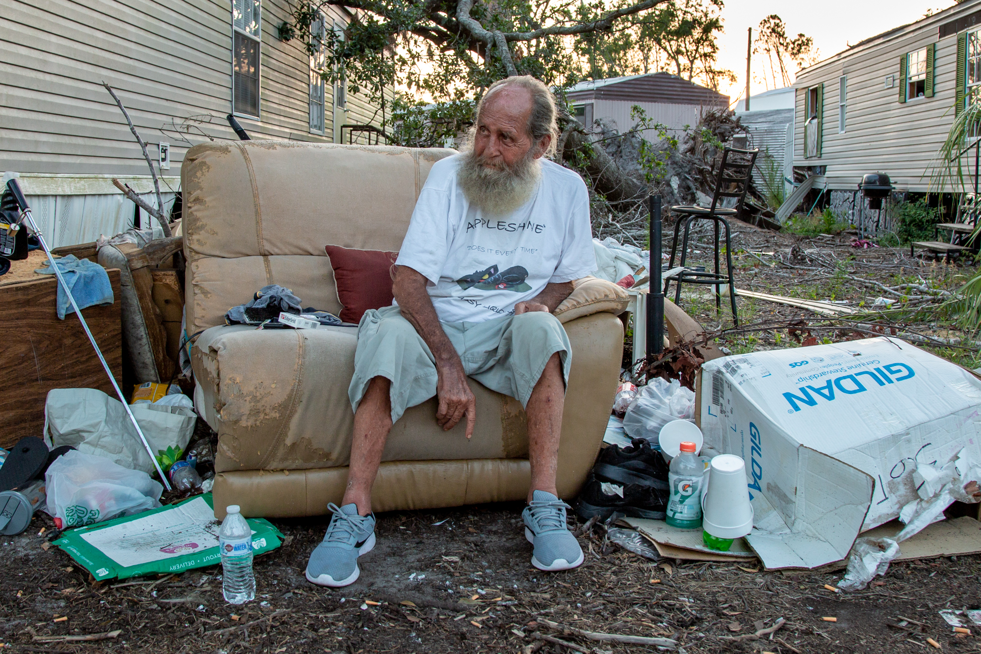 Phillip Ingram - Phillip Ingram, 66, lost his trailer during Hurricane Michael last October, but he still lives in Lynn Haven Mobile Home Park because he can't afford the inflated rent around Panama City, Florida. However, Lynn Haven is slated to close, and remaining residents will have to go. (Jake Goodrick/News21)
