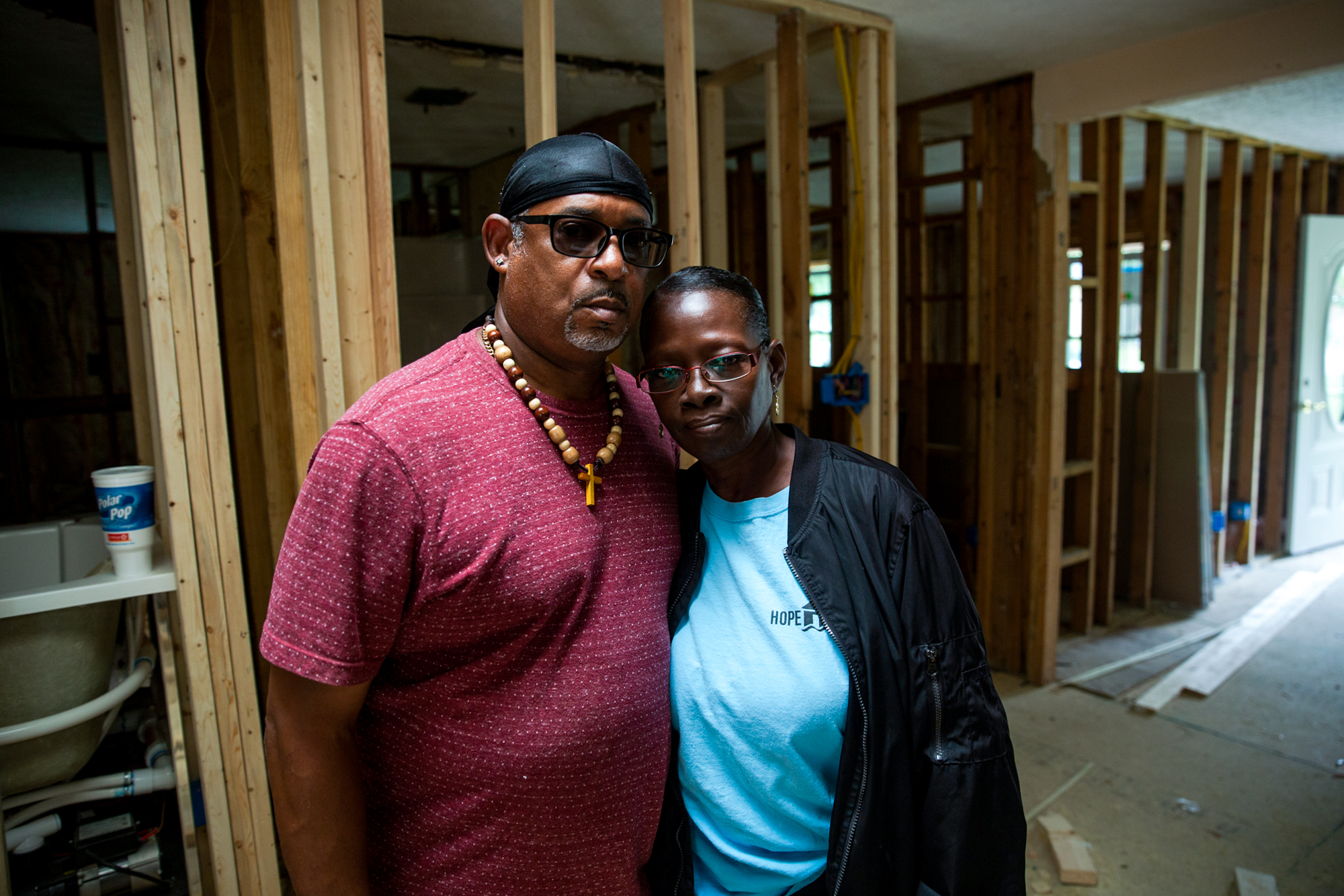 "Lloyd and Regina Evans - Lloyd and Regina Evans of Spring Lake, North Carolina, struggled to get federal and state aid to repair their home after Hurricane Florence. They've had to put every penny back into the project. ""Right now, I just go to get home,"" Regina said. (Harrison Mantas/News21)"