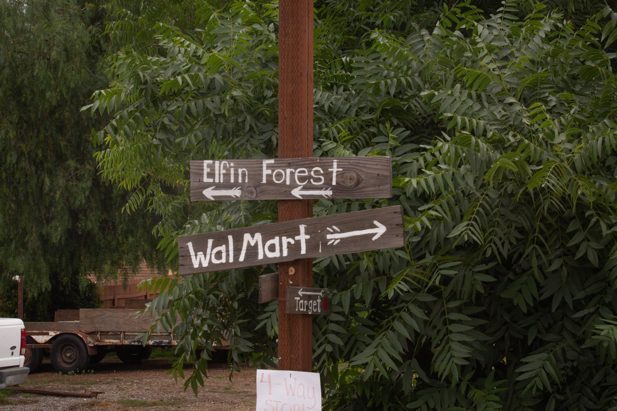 Homemade signs are a tongue-in-cheek nod to years of tension among Elfin Forest, Harmony Grove and other rural communities in San Diego County. (Kailey Broussard/News21)