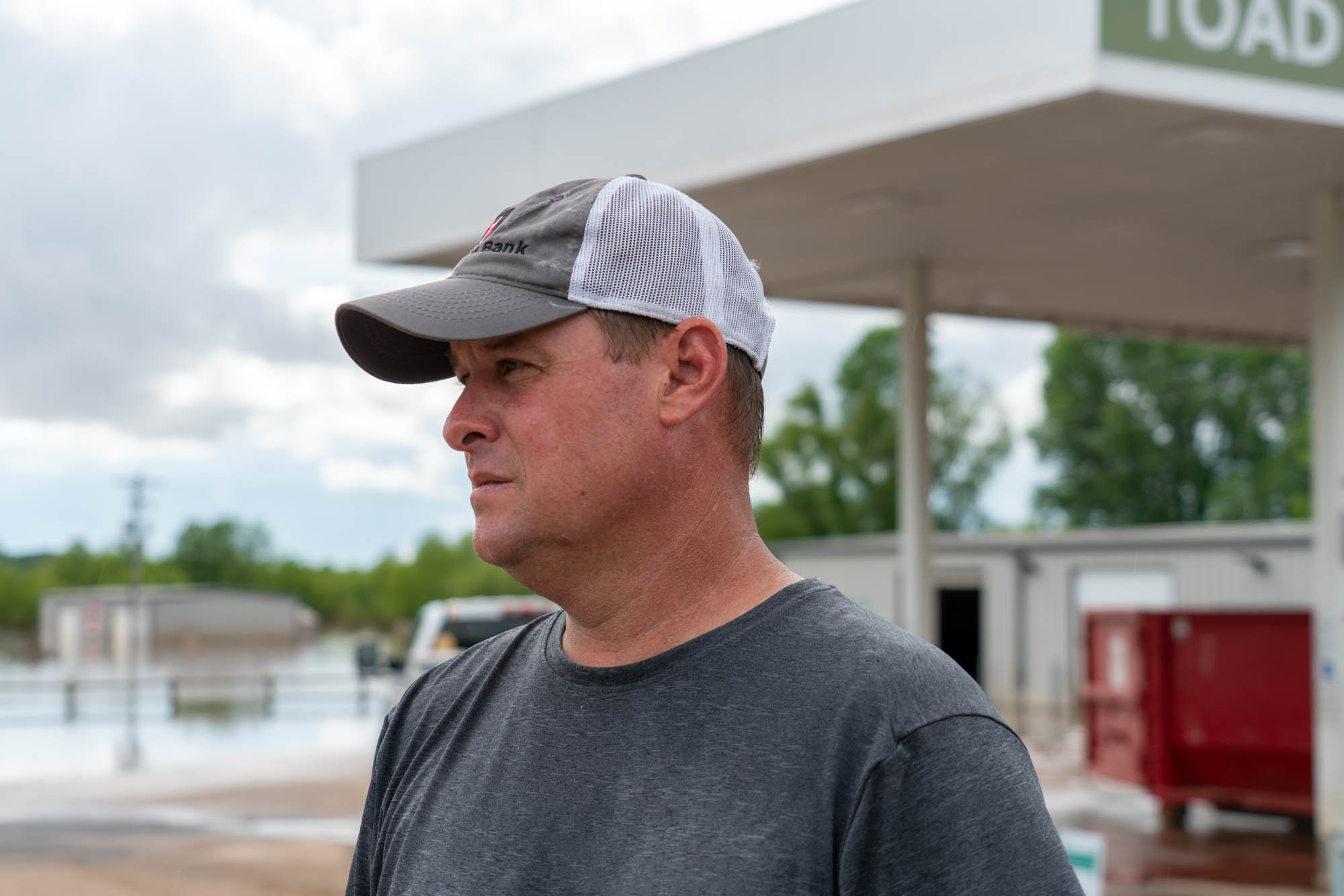 Jason Trantina has operated the Toad Suck One-Stop since 1997. The parking lot had taken on water before, but this was the first time the store itself flooded. (Jordan Laird/News21)